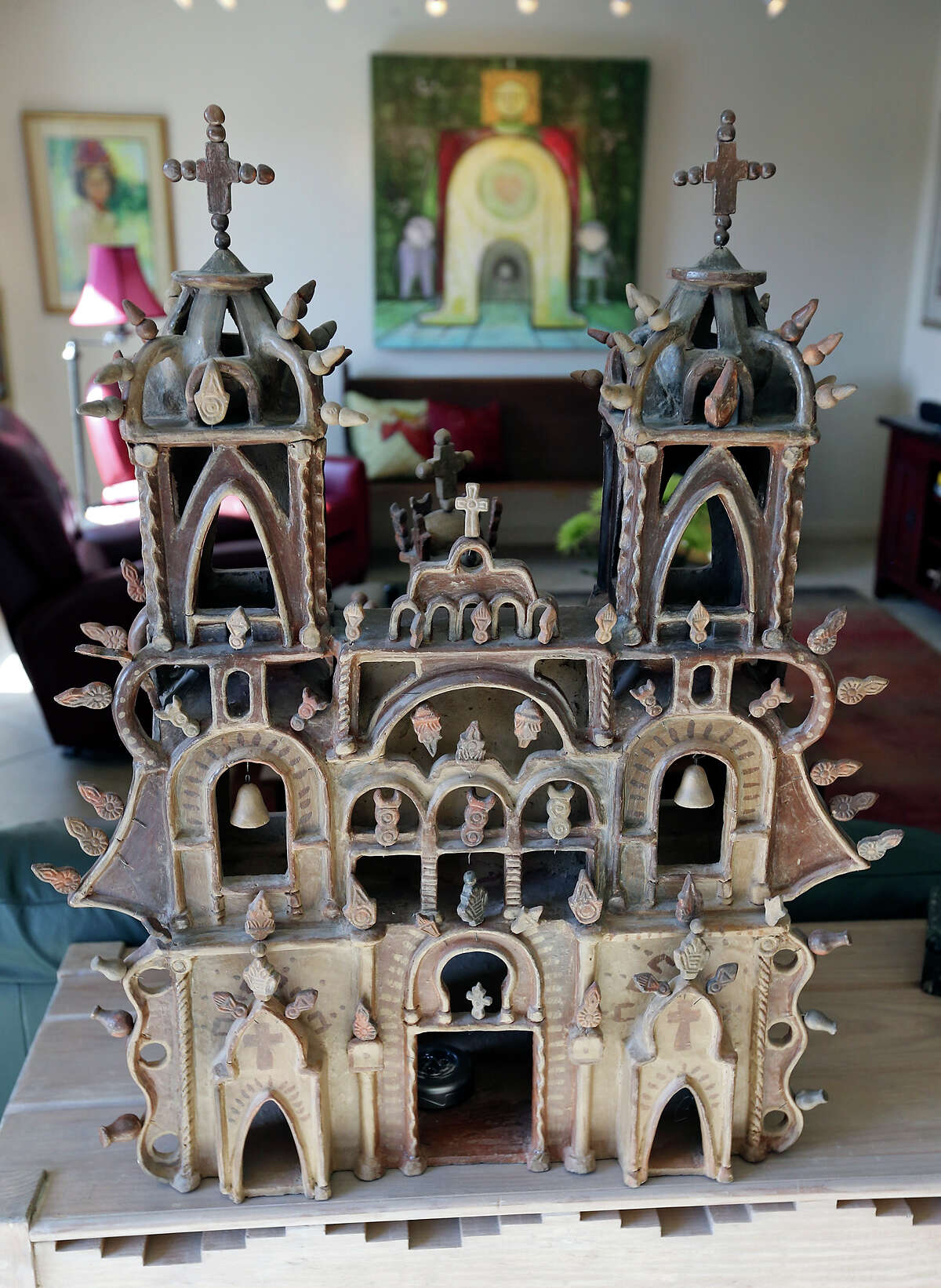 A pottery cathedral in Elaine Dagen's home was raku fired in a single piece.