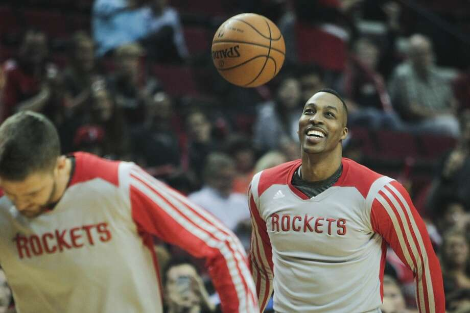 Houston Rockets center Dwight Howard during warmups before Game 3. Photo: James Nielsen, Houston Chronicle