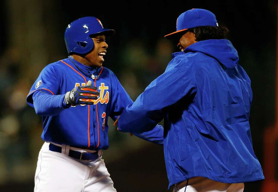 NEW YORK, NY - APRIL 25:  Curtis Granderson #3 of the New York Mets celebrates with Jenrry Mejia #58 after hitting a walk off single in the bottom of the ninth inning to beat the Miami Marlins at Citi Field on April 25, 2014 in the Flushing neighborhood of the Queens borough of New York City. Mets defeated the Marlins 4-3.  (Photo by Mike Stobe/Getty Images) ORG XMIT: 477580487 Photo: Mike Stobe / 2014 Getty Images