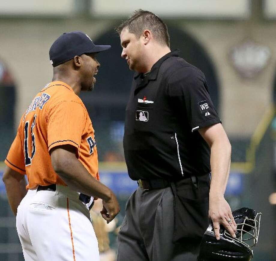 Astros manager Bo Porter argues with home plate umpire Jordan Baker in the ninth inning. Baker ejected Porter from the game. Photo: Thomas B. Shea, For The Chronicle