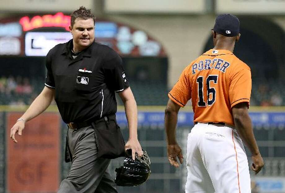 Astros manager Bo Porter argues with Home plate umpire Jordan Baker in the ninth inning. Photo: Thomas B. Shea, For The Chronicle