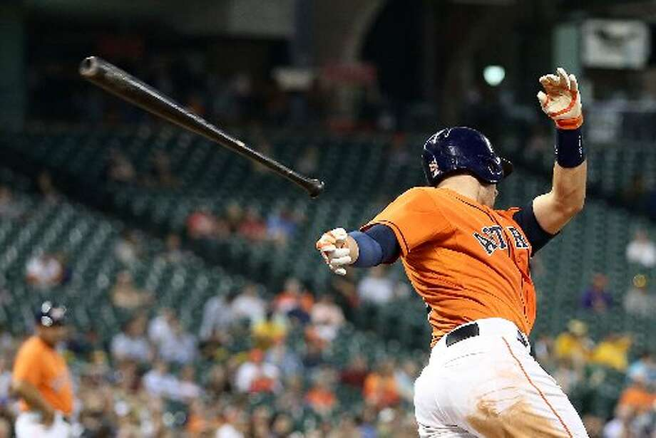 Astros catcher Jason Castro (15) looses his bat while striking out in the third inning. Photo: Thomas B. Shea, For The Chronicle