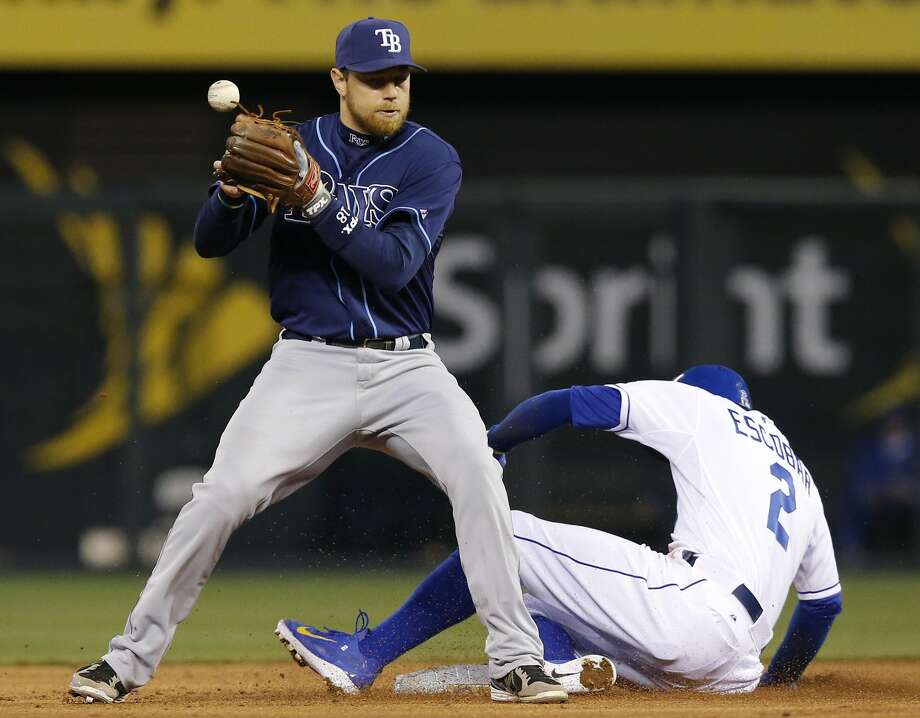 Baseball reverted to its old rule Friday on what constitutes an out when the ball is transferred from the glove. This play from early this month, in which the Royals' Alcides Escobar was ruled safe on Tampa Bay's Ben Zobrist's transfer, would probably now be an out. Photo: Orlin Wagner, Associated Press