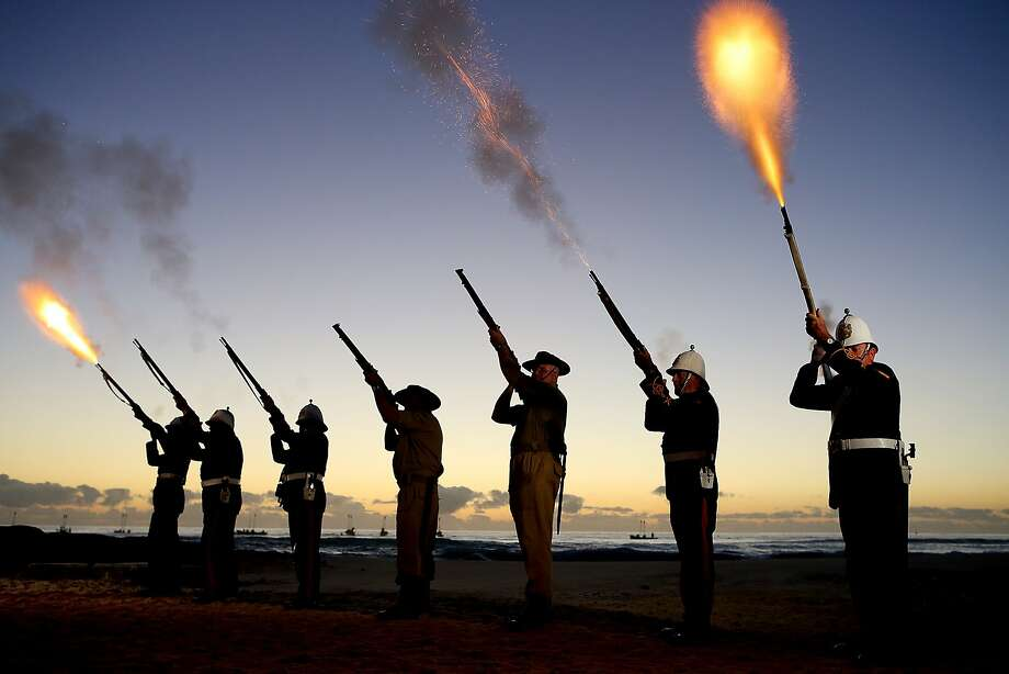 GOLD COAST, AUSTRALIA - APRIL 25: Members of the Albert Battery shoot a volley of fire during the ANZAC dawn service at Currumbin Surf Life Saving Club on April 25, 2014 in Gold Coast, Australia. Veterans, dignitaries and members of the public today marked the 99th anniversary of ANZAC (Australia New Zealand Army Corps) Day, April 25, 1915 when allied First World War forces landed on the Gallipoli Peninsula. A public holiday in both Australia and New Zealand, commemoration events are held across both countries in remembrance of those who fought and died in all wars.  (Photo by Chris Hyde/Getty Images) *** BESTPIX *** Photo: Chris Hyde, Getty Images