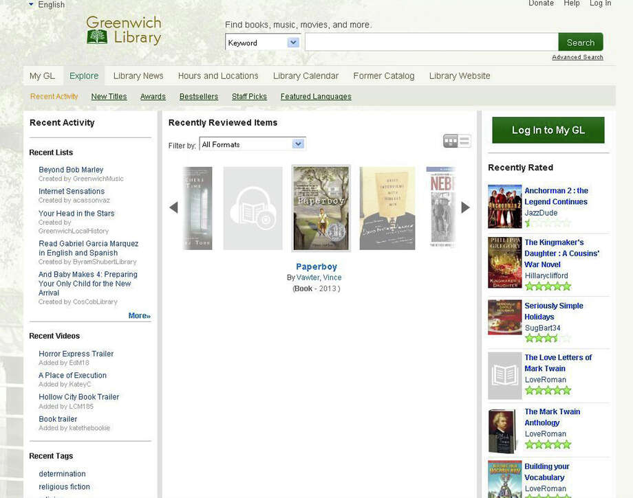 Greenwich Library has launched its new online catalog, the first library in the state to offer the service, powered by BiblioCommons, a Canadian software developer. A number of other major libraries use a BiblioCommons catalog, including the New York Public Library, Seattle Public Library and Princeton (N.J.) Library. Photo: Paul Schott, Anne Semmes / Greenwich Time