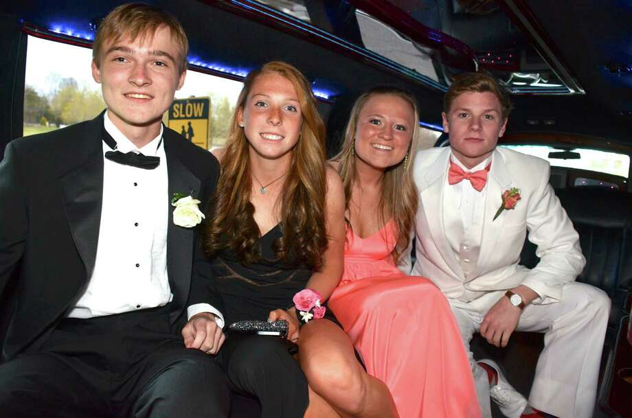 Parker Lewis, Elizabeth Miller, Mackenzie Lewis and Ryan McMahon arrive at the New Canaan High School junior prom, held at the Italian Center in Stamford, Connecticut, on Friday, April 25, 2014. Photo: Jeanna Petersen Shepard, Freelance Photo / New Canaan News freelance