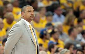 Apr 24, 2014; Oakland, CA, USA; Golden State Warriors head coach Mark Jackson on the sideline during the second quarter of game three of the first round of the 2014 NBA Playoffs against the Los Angeles Clippers at Oracle Arena. Mandatory Credit: Kelley L Cox-USA TODAY Sports