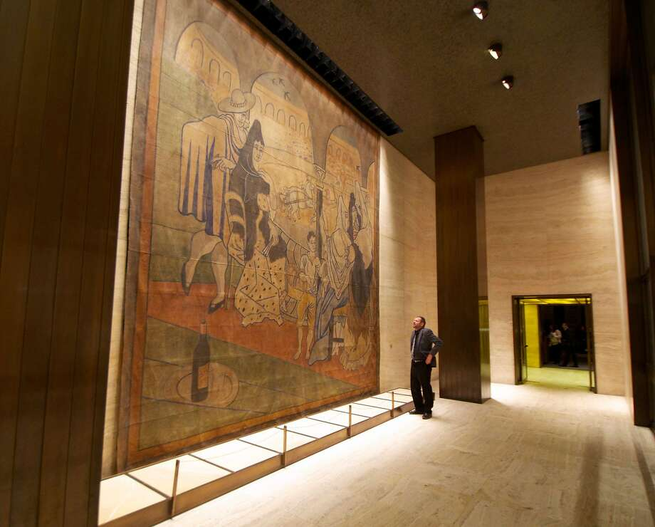 """""""Le Tricorne,"""" a stage curtain painted by Pablo Picasso, hangs at the Four Seasons Restaurant. Photo: Rick Burner, Associated Press"""