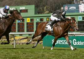 Pepper Crown wins the San Francisco Mile Grade III with jockey Abel Cedillo; trained by Alex Paszkeicz.