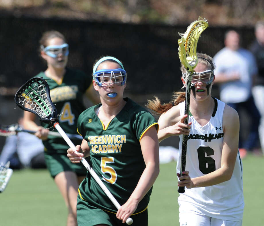 Girls high school lacrosse match between Greenwich Academy and Convent of the Sacred Heart at Greenwich Academy, Saturday afternoon, April 26, 2014. GA defeated CSH, 18-6. Photo: Bob Luckey / Greenwich Time