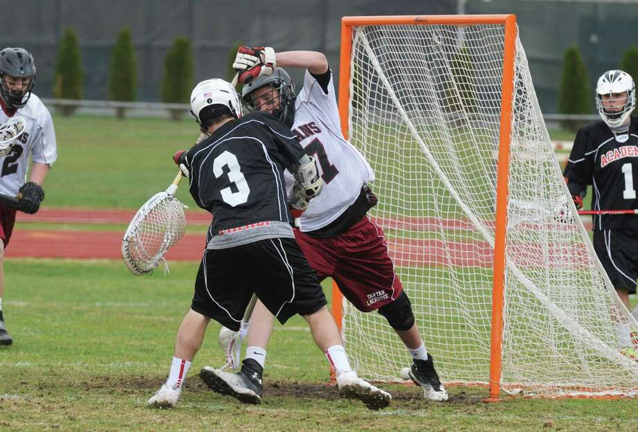 Albany Academy's Matt Balter scores during their lacrosse game against Scotia on Saturday April 26, 2014 in Scotia, N.Y. (Michael P. Farrell/Times Union) Photo: Michael P. Farrell / 00026641A