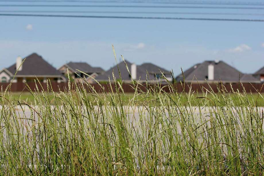 Homes peek above the fence line next to an open field in the Avalon Terrace community on the 7600 block of West Broadway Street Thursday, April 10, 2014, in Pearland. Photo: Johnny Hanson, Houston Chronicle / © 2014  Houston Chronicle