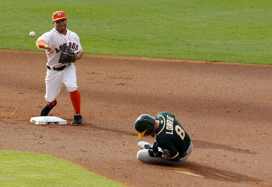 Astros second baseman Jose Altuve (27) turns a double play. Photo: Thomas B. Shea, For The Chronicle