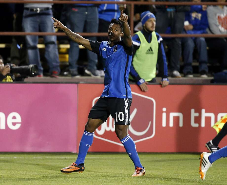Midfielder Yannick Djalo celebrates his second-half goal, which proved to be the difference in San Jose's 1-0 home win. Photo: Robert Stanton, Reuters