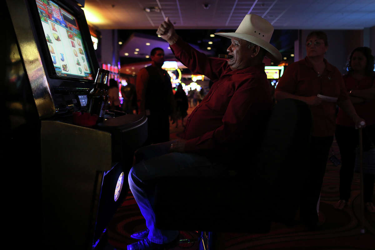 Luis Barrientos, Jr., of San Antonio, plays Jumpin' Jalape-os at the Kickapoo Lucky Eagle Casino in Eagle Pass on Saturday, April 19, 2014. Barrientos said he won around $1200 playing the game for around 6 hours.