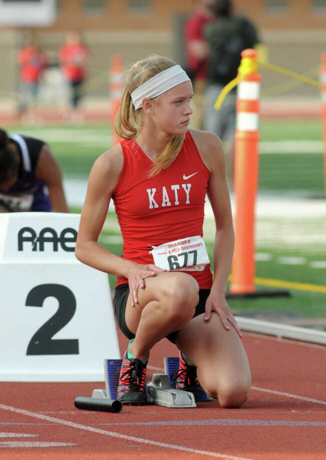 Katy freshman Abigail Brudnick waits for the start of the finals of the 5A Girls 4x400 Meter Relay at the 2014 Region III Track & Field Championship at Turner Stadium in Humble on Saturday. Photo: Jerry Baker, For The Chronicle