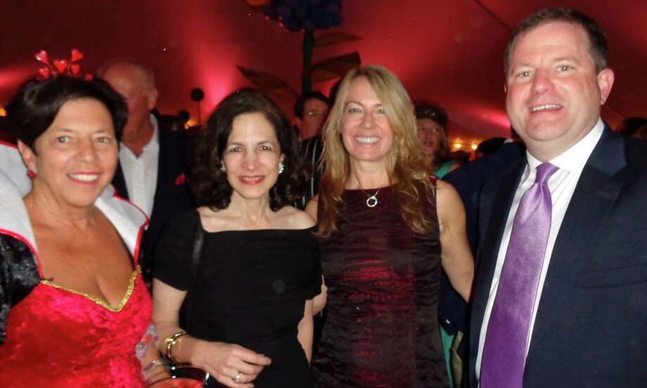 "Honoree Ann Sheffer -- left, the Queen of ""heARTS"" -- at the Westport Arts Center's WONDERland gala with state Rep. Gail Lavielle, Kristin Fox and state Sen. John McKinney, the fiance of Fox. Photo: Meg Barone / Westport News"