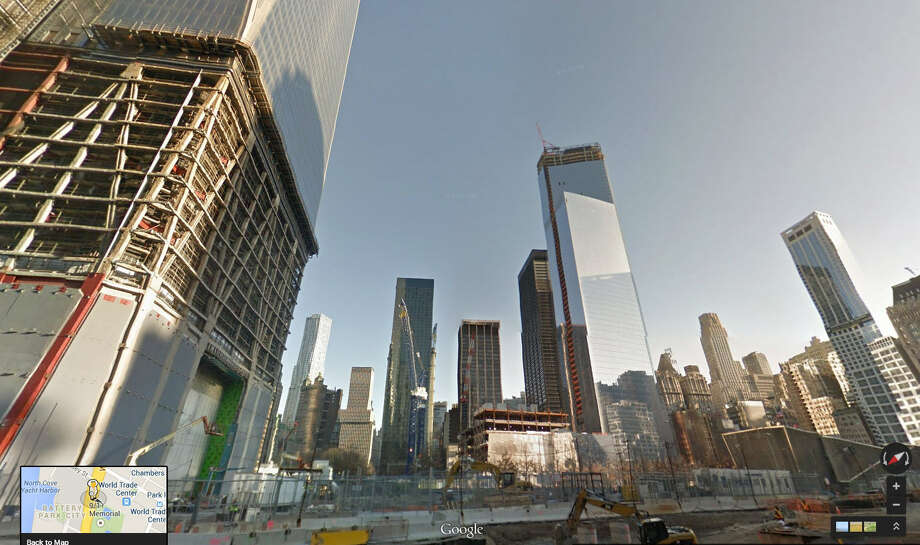 In 2014:The latest street view photo of the Freedom Tower shows it almost complete. Photo: Google Maps
