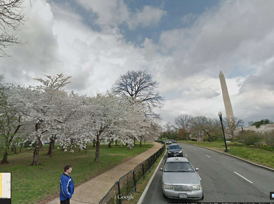 April in DC: Seasonal changes are also good to check out, the nation's capital is the site of beautiful cherry blossoming in April. Photo: Google Maps