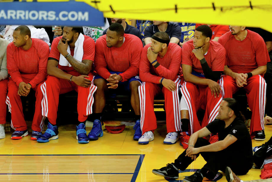 There were protests inside Oracle Arena as well. Rather than boycott the game as some suggested, the Clippers wear their warm-up jerseys inside out in response to Sterling. Photo: Brant Ward / The Chronicle / ONLINE_YES