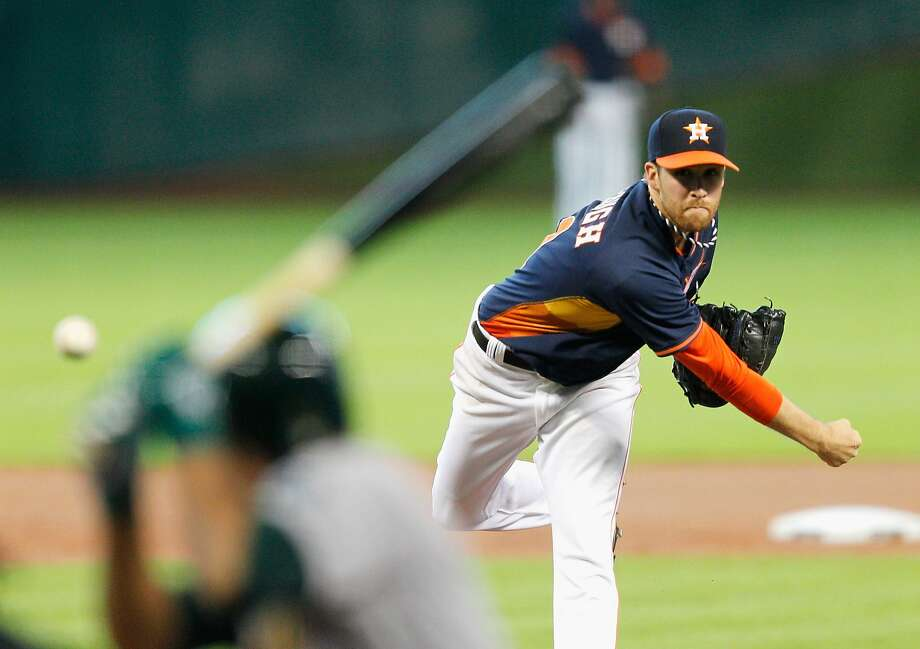 Astros starter Collin McHugh allowed two hits in 82/3 innings in his second big-league win. Photo: Bob Levey, Getty Images