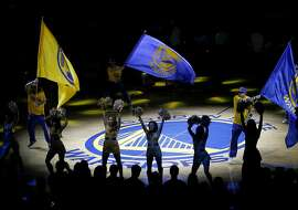 The Warrior cheerleaders went into a dance as the team was announced. The Golden State Warriors take on the Los Angeles Clippers in the fourth game of the NBA playoffs Sunday April 27, 2014.