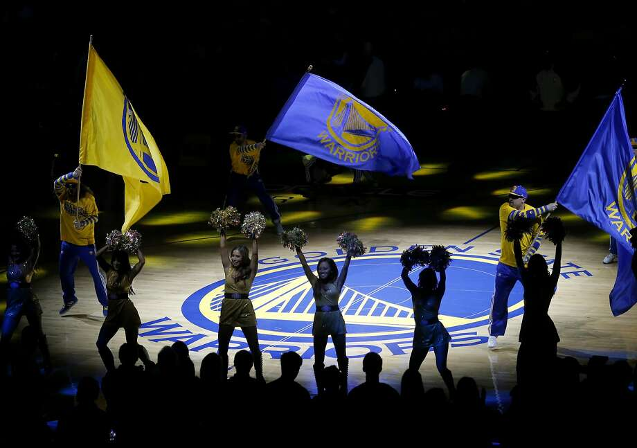 The Warrior cheerleaders went into a dance as the team was announced. The Golden State Warriors take on the Los Angeles Clippers in the fourth game of the NBA playoffs Sunday April 27, 2014. Photo: Brant Ward, The Chronicle