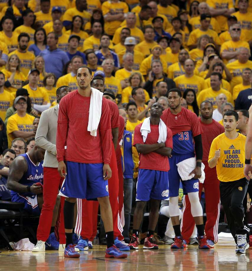 Clippers players wore black socks and team warm-up shirts inside-out in a silent protest against Sterling. Photo: Carlos Avila Gonzalez, The Chronicle