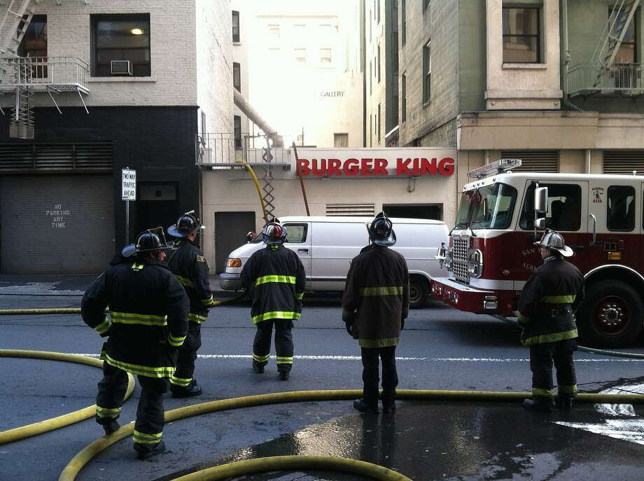 The scene of a fire at a Burger King on Powell St. near Market St. in San Francisco on Sunday, April 27, 2014. Photo: Evan Sernoffsky, The Chronicle
