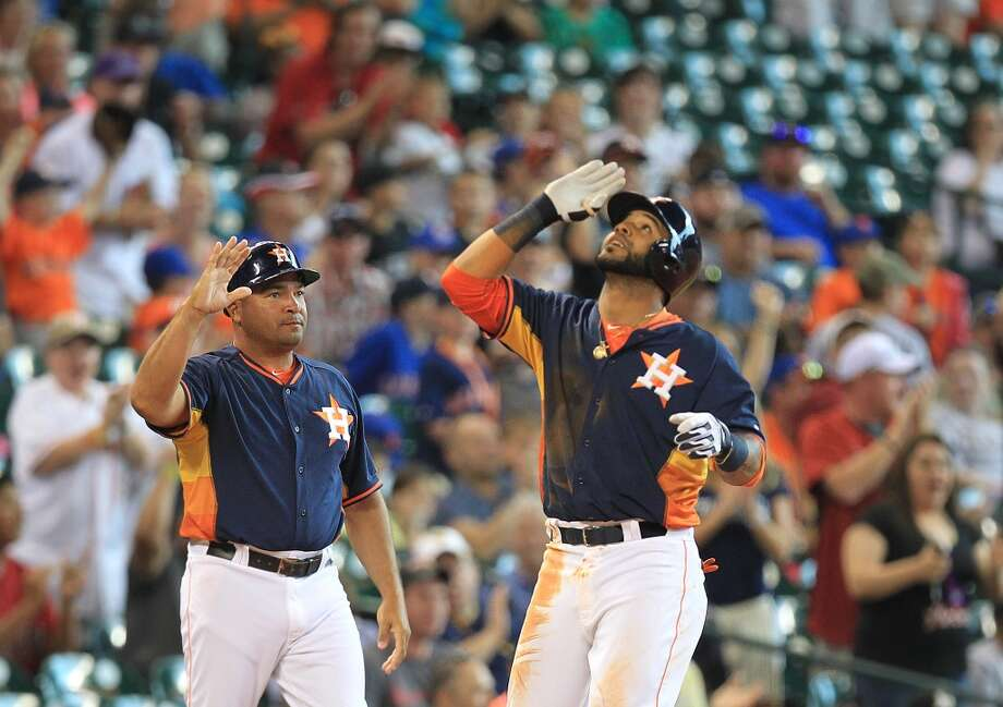 Astros shortstop Jonathan Villar celebrates after driving in a pair of runs. Photo: Mayra Beltran, Houston Chronicle