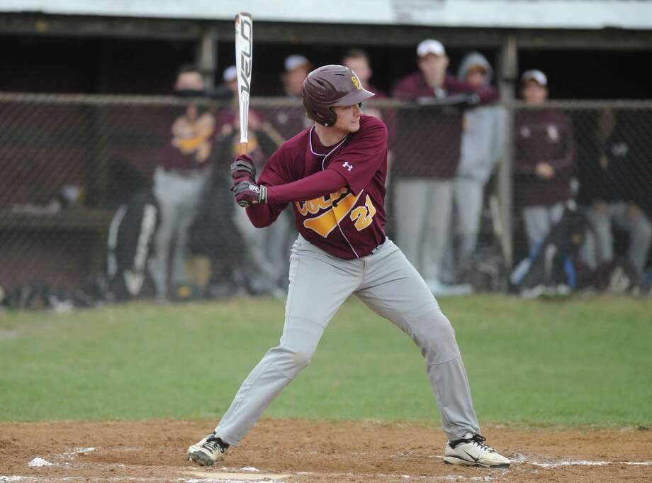 Colonie's Ben Contento at the plate during their boy's high school baseball game against Burnt Hills on Wednesday April 23, 2014 in Burnt Hills, N.Y. (Michael P. Farrell/Times Union) Photo: Michael P. Farrell / 00026584A
