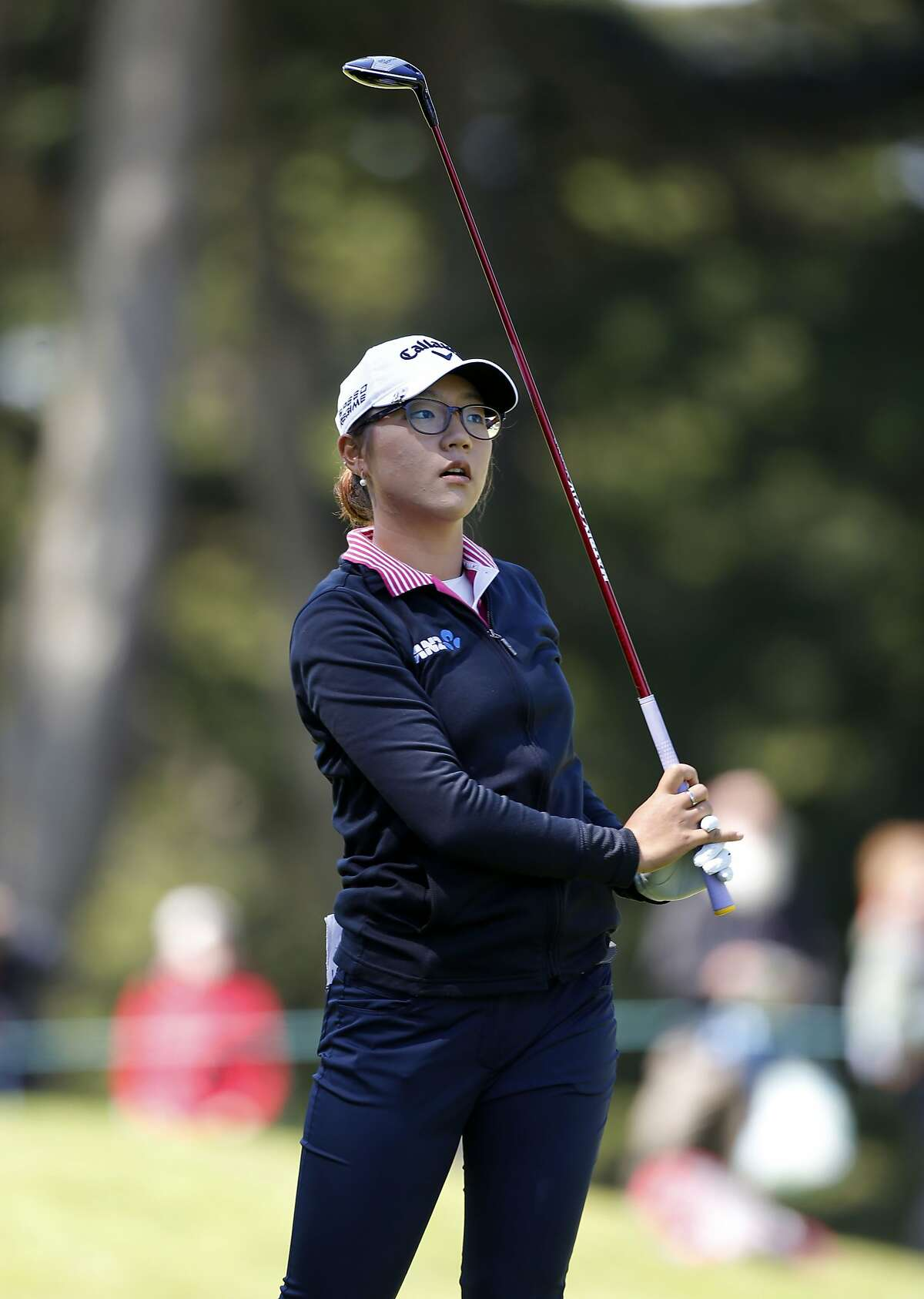 Lydia Ko watches her second shot to the 6th hole, during the final round of the Swinging Skirts LPGA classic at Lake Merced Golf Club in Daly City, Calif., on Sunday April 27, 2014.