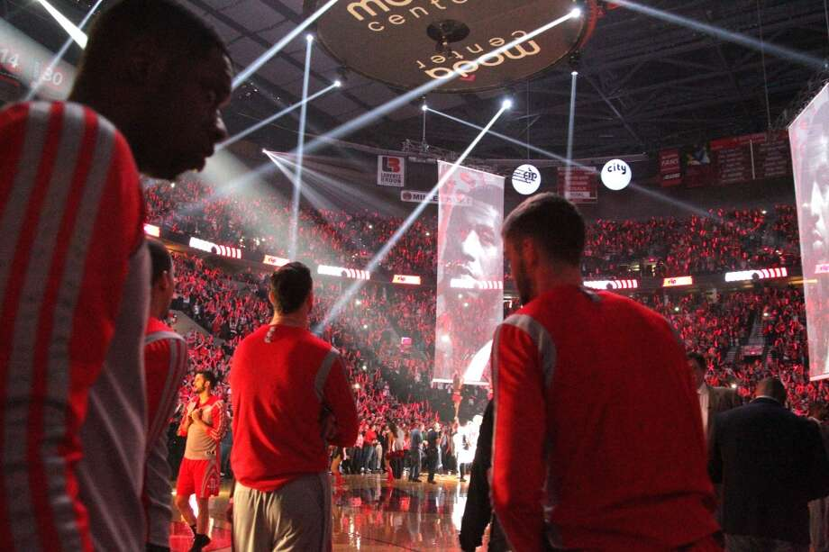 Rockets stand on the court during player introduction before Game 4 of the Western Conference Quarterfinals against the Portland Trail Blazers. Photo: James Nielsen, Houston Chronicle