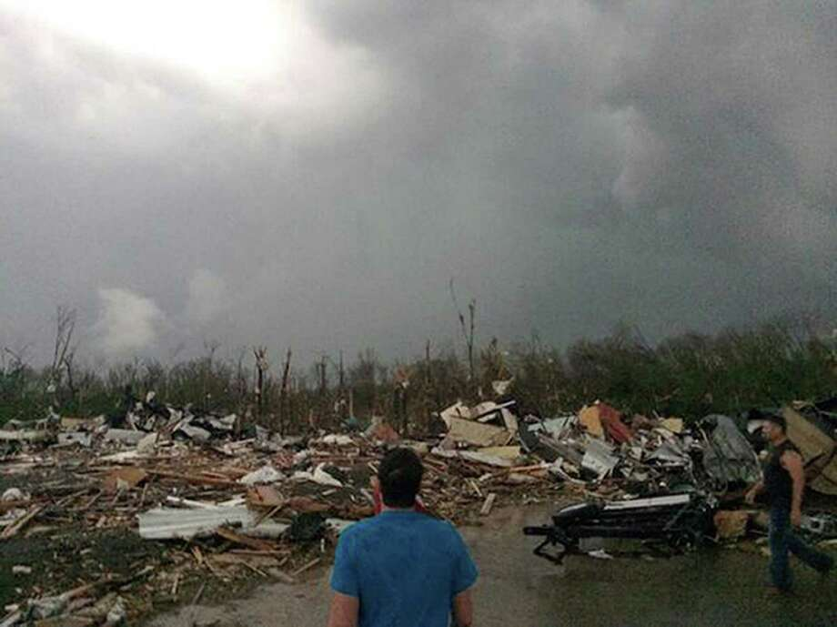 This photo provided by James Bryant shows massive damage Sunday in the town of Mayflower, Arkansas, one of the hardest-hit of a string of places throughout the South and Midwest visited by powerful tornadoes. Photo: James Bryant, HONS / Courtesy of James Bryant