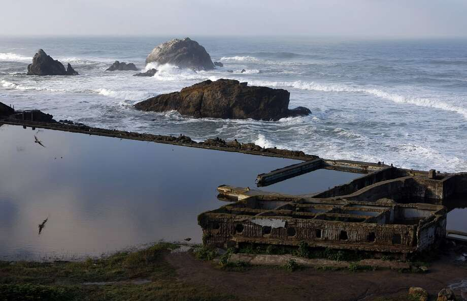 Watch the waves crash at the Sutro Baths. Hopefully you'll catch a glimpse of the sea otter dubbed 'Sutro Sam.' Photo: Sean Havey, The Chronicle
