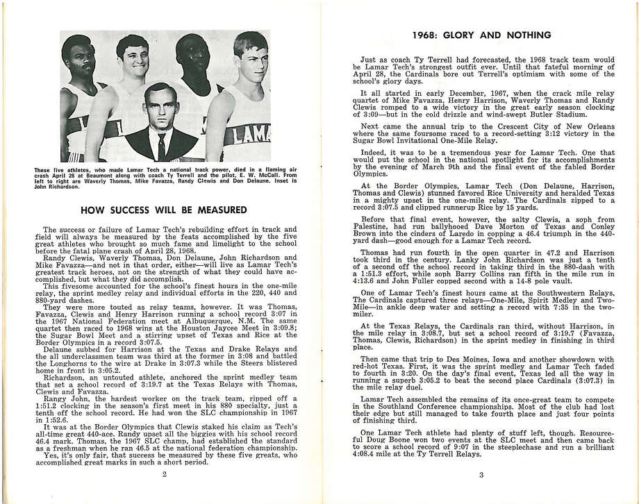 Photo of the 1969 Lamar media guide looking back on the 1968 plane crash that killed five track athletes and their coach. Provided by Lamar University