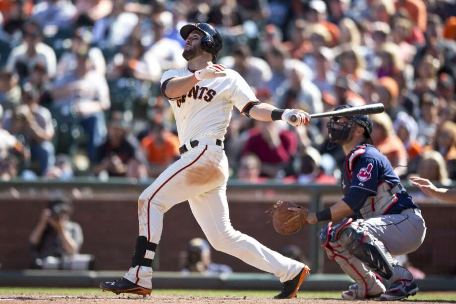Brandon Hicks #14 of the San Francisco Giants hits a walk-off three-run home run against the Cleveland Indians during the ninth inning at AT&T Park on April 27, 2014 in San Francisco, California. The San Francisco Giants defeated the Cleveland Indians 4-1. Photo: Jason O. Watson, Getty Images
