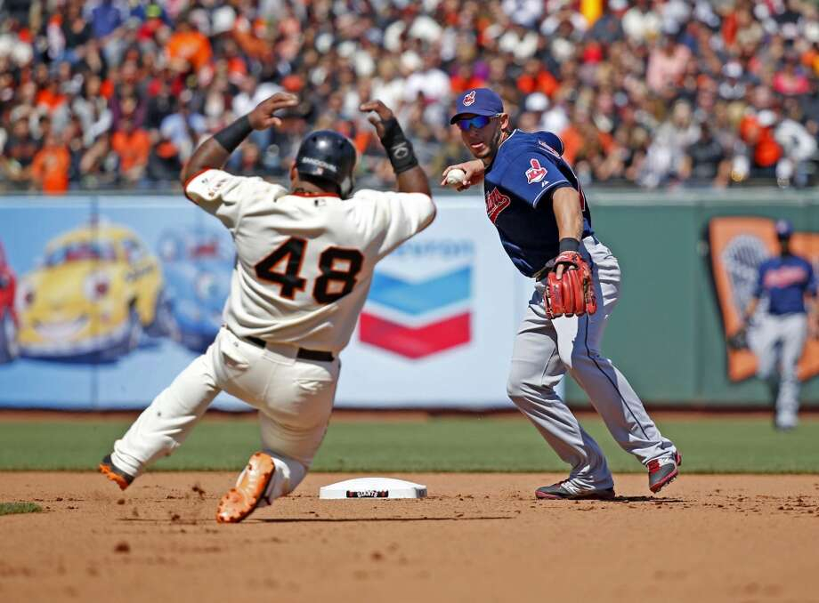 Cleveland Indians shortstop Asdrubal Cabrera (13) turns a double play over San Francisco Giants third baseman Pablo Sandoval (48) during the seventh inning at AT&T Park. Giants won 4-1. Photo: Robert Stanton, Reuters