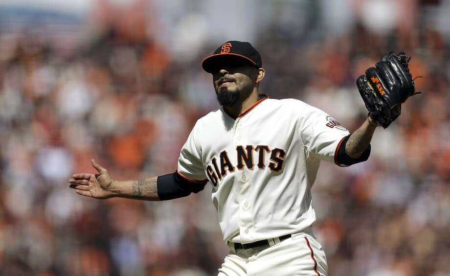 San Francisco Giants' Sergio Romo celebrates after pitching against the Cleveland Indians in the ninth inning of a baseball game, Sunday, April 27, 2014, in San Francisco. The Giants won 4-1. Photo: Ben Margot, Associated Press