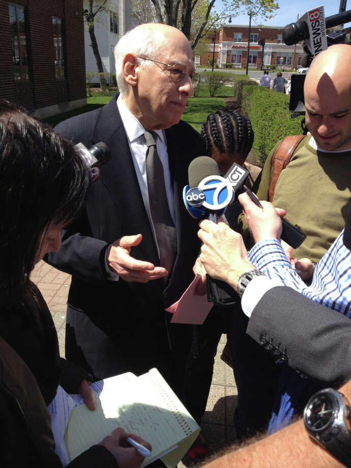 Allan Cramer, the attorney representing Paul Simon and his wife, Edie Brickell, following an alleged domestic dispute, speaks to reporters outside of Norwalk Superior Court Monday, April 28, 2014. Staff Photo/Nelson Oliveira Photo: Contributed / New Canaan News Contributed