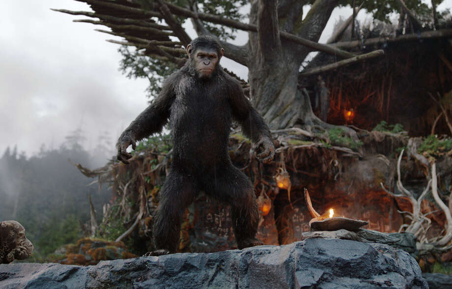 "This image released by 20th Century Fox shows Caesar, performed by Andy Serkis, in a scene from ""Dawn of the Planet of the Apes."" Photo: David James, Associated Press / 20th Century Fox"