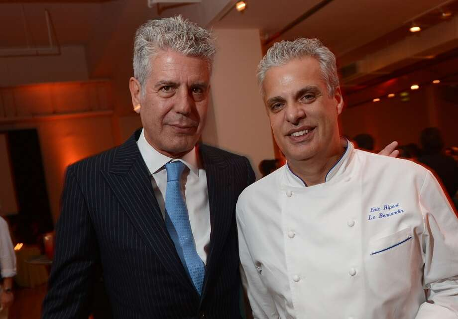 #21: Le Bernardin, New York. Pictured: Chef Eric Ripert (right), with Anthony Bourdain Photo: Jason Kempin, Getty Images For City Harvest