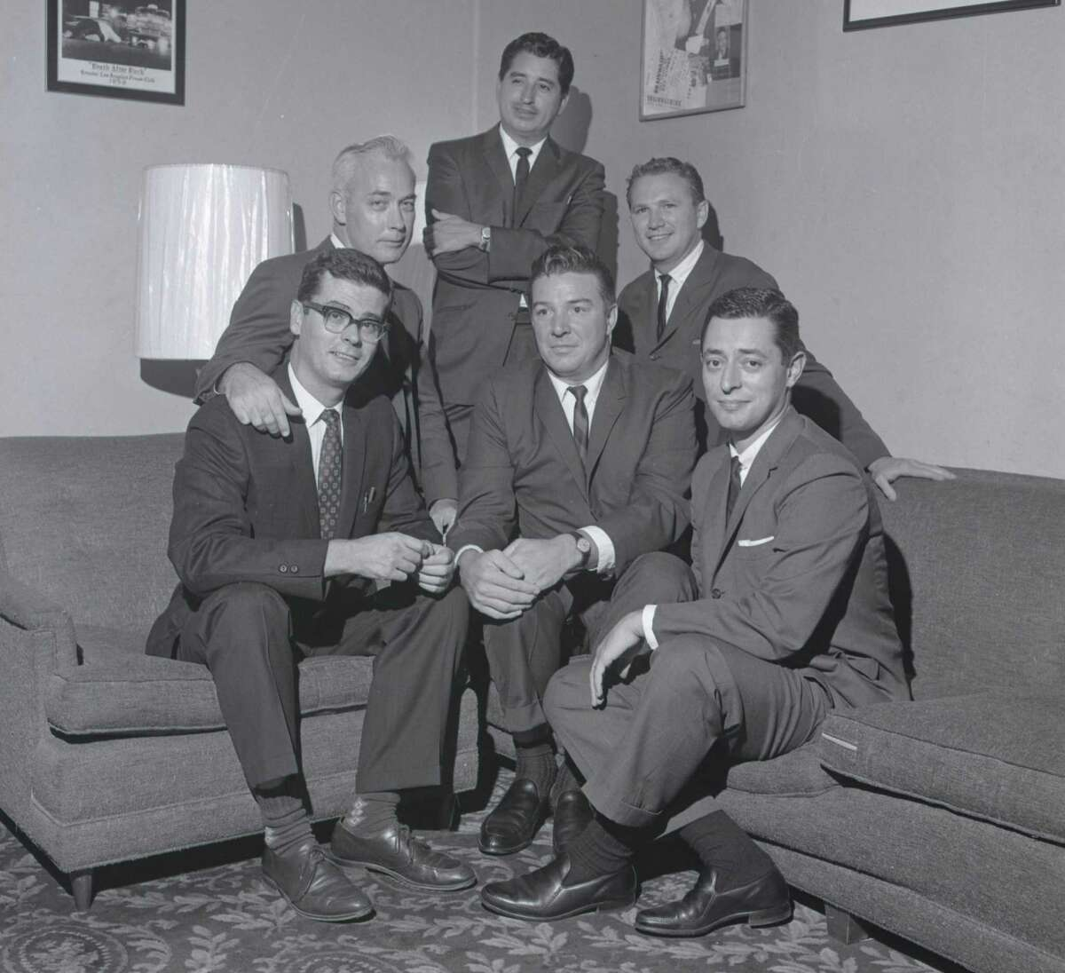 Ruben Salazar (standing) with his fellow Los Angeles Times reporters in the 1960s. Salazar's death in 1970 is profiled in a PBS documentary