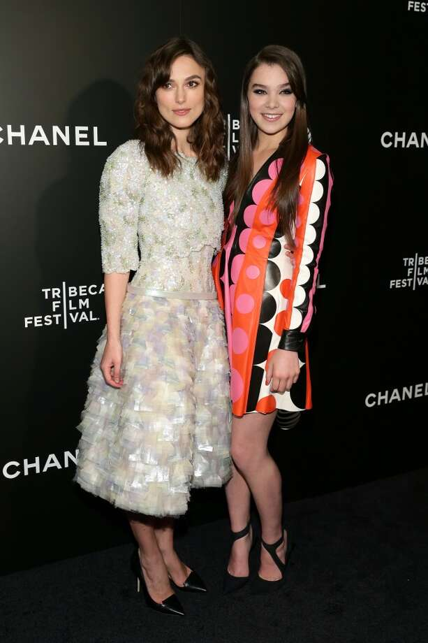 "Actors Keira Knightley (L) and Hailee Steinfeld attend the ""Begin Again"" Closing Night Premiere during the 2014 Tribeca Film Festival at BMCC Tribeca PAC on April 26, 2014 in New York City. Photo: Neilson Barnard, (Getty Images For The 2014 Tribeca Film Festival"