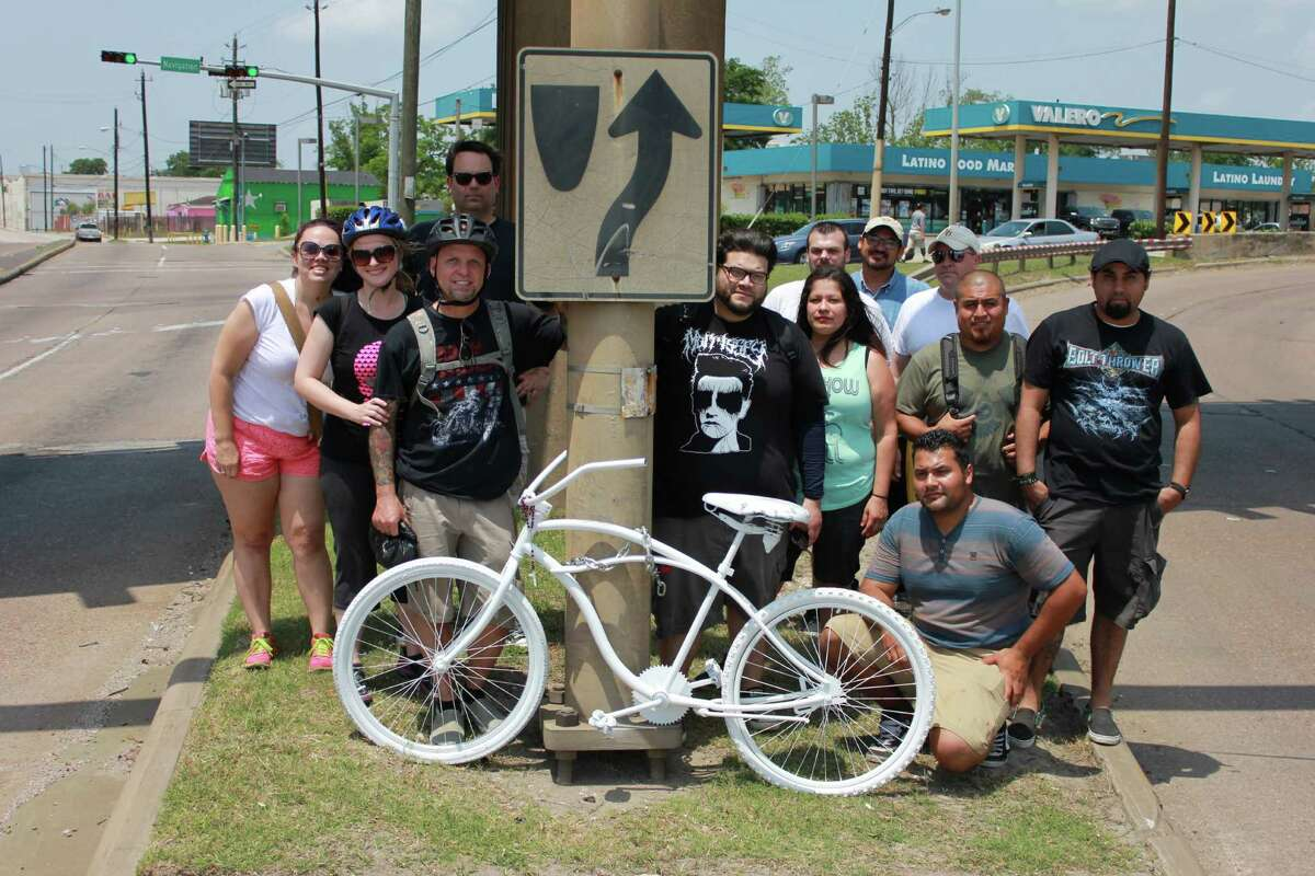 Richard Tomlinson installed a total of 13 ghost bikes this past weekend to memorialize the locations where Houston-area cyclists lost their lives.
