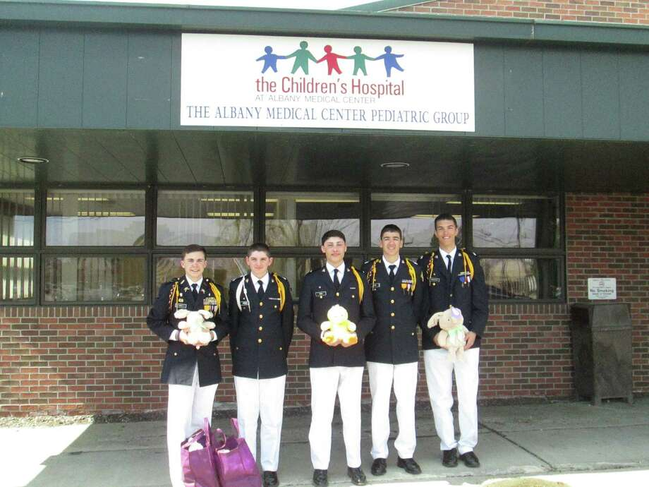 Christian Brothers Academy students deliver Easter gifts on Holy Thursday. From left, Evan Carey, 12th grade; Brendan Zebrowski, 10th grade; Nicholas Parisi, 9th grade; Elliott Raimo, 10th grade; Will Van Beusekom, 10th grade. (Submitted)