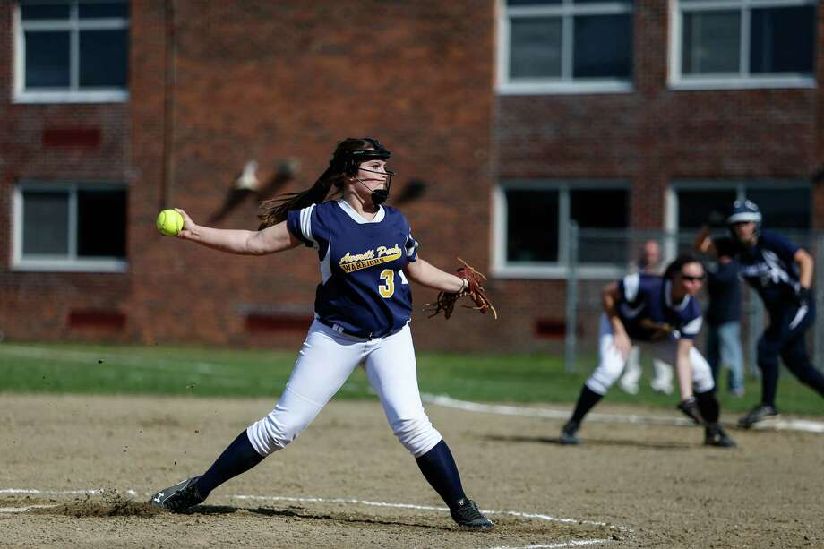 Averill Park's  Brittany Meka throws a pitch home with a  runner on first base during the softball game against Columbia on Monday, April 28, 2014 at Averill Park High School in Averill Park, N.Y. (Dan Little / Special to the Times Union) Photo: Dan Little / Dan Little