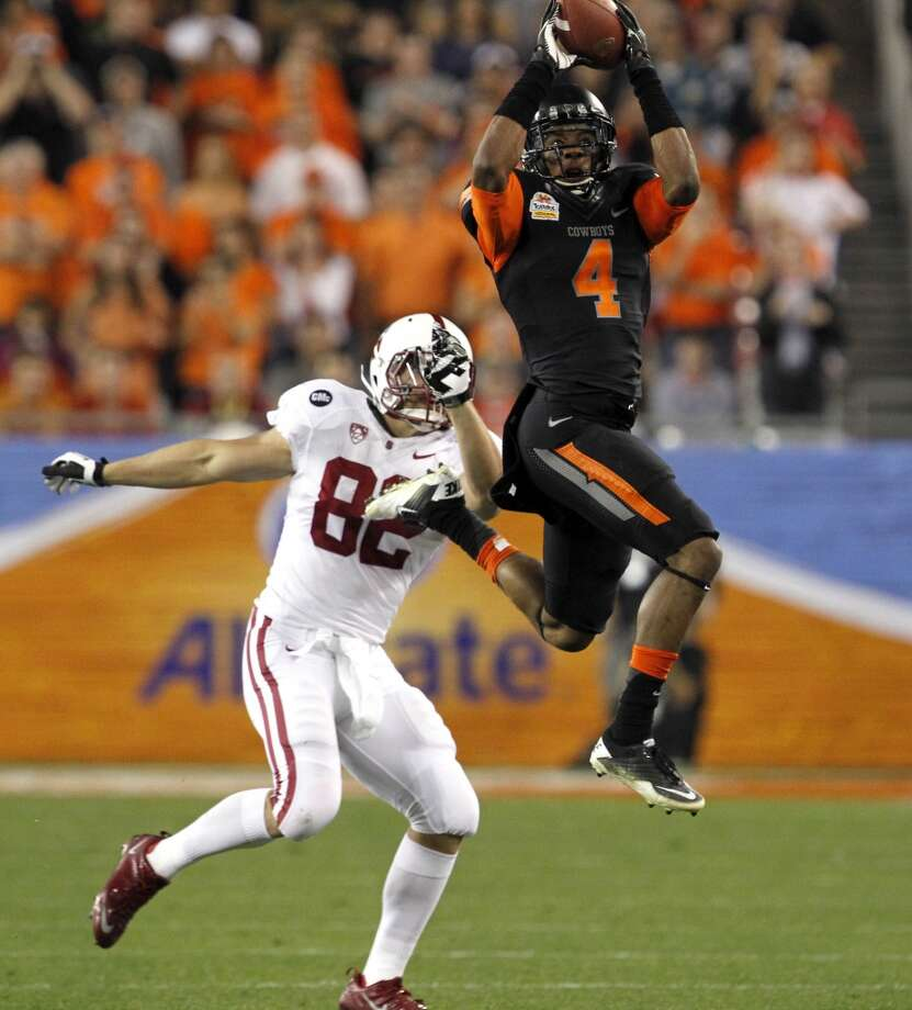 Justin Gilbert, CB, 6-0, 202, 4.37, Oklahoma State   He's got the full package scouts covet – good size, outstanding speed and terrific athleticism. Comes from a pass-happy conference. Can play press coverage. Can turn and run exceptionally well. Great closing speed. Good ball skills. Should go in top half of first round. Photo: Ross D. Franklin, Associated Press