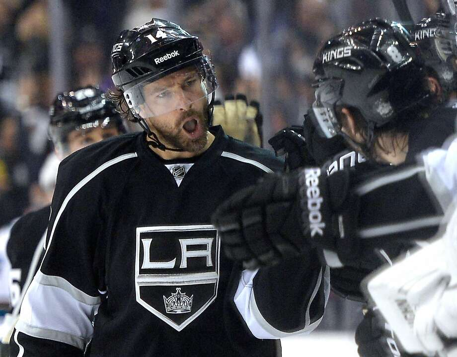 Right wing Justin Williams celebrates scoring the Kings' go-ahead goal with just over eight minutes left in the game. It was his second goal of the night. Photo: Harry How, Getty Images