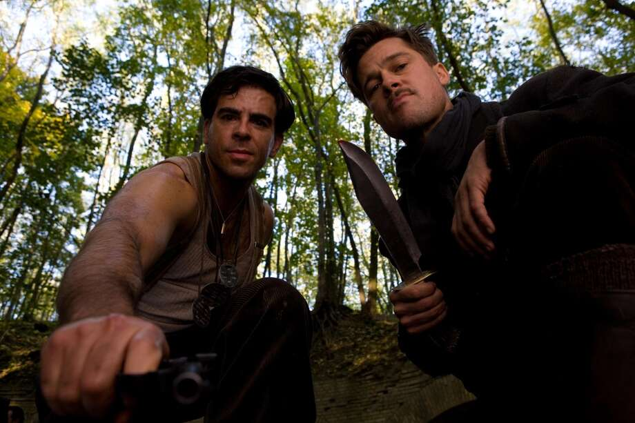 Eli Roth and Brad Pitt in Quentin Tarantino's 'Inglorious Basterds.'   If you still haven't seen it, watch it on an airplane.  Lots of action, but also quite talkie, with surprisingly long scenes.  One of the best movies of the last decade. Photo: Francois Duhamel, Weinstein Co.